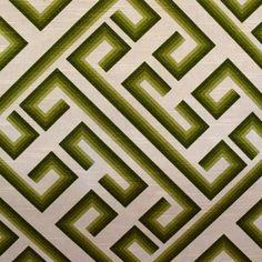 Green and white Greek key pattern