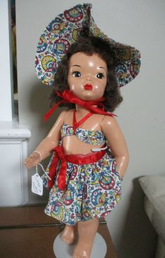 Doll Terri Lee Brunette Painted Plastic LOOPY TAG SARONG BEACH COSTUME #TerriLee #DollswithClothingAccessories