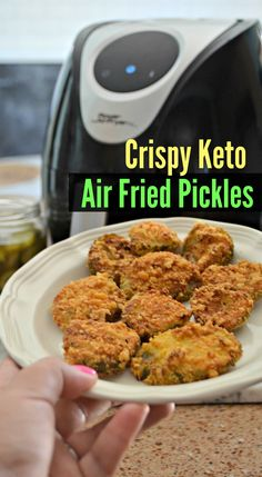 These keto friendly crunchy air fryer fried pickles are LEGIT! They are SO CRUNCHY, satisfying, and simple to whip up using the air fryer. Keto Foods, Ketogenic Recipes, Keto Snacks, Low Carb Recipes, Cooking Recipes, Healthy Recipes, Ketogenic Diet, Snacks Recipes, Rice Recipes