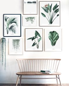 My Deer Art Shop - Artprints Urban Botanics + austere stylish wood bench with a thin frame. Beautiful white-green-wood combination for a corridor, #entryway or #livingroom. #decoration