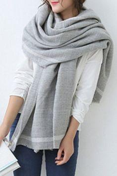 Stylish Single Stripe Pattern Brim Fringed Edge Big Pashmina For Women
