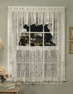 Hopewell Lace Curtains U2013 White   Lorraine   Country Kitchen Curtains