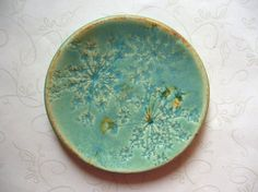 Old And Rustic Queen Anne's Lace Ceramic Spoon Rest