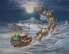 Country Christmas by Ron Byrum ~ Folk Art country cabin Santa flying reinder sleigh*