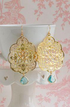 GOLD Lace & Aqua Blue Filigree Earrings