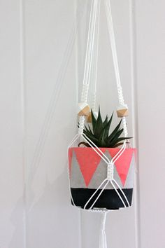 Macrame Plant Hanger - Geometric Beads - White - Geometric Dreams by SomeWereMeantForSea on Etsy