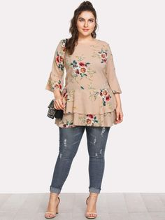 997129ff8c21cb Plus Fluted Sleeve Floral Print Tiered Hem Top