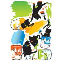 Home Decor Mural Art Wall Paper Stickers - Splattered Kitten Paint by KR International. $19.97. Instantly brighten your home, workplace, dorm, or store. Comes with all the stickers pictured on the sticker sheet. Easy to apply and remove without leaving any residue or peelage. Ideal for dry, clean, and smooth surfaces. Decorate your walls, bed post, refrigerator, windows, tables, store fronts, doors, and more. Do you want to create an new look in your home with this simply...