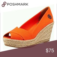 Tory Burch Flilipa Orange Wedge 🌟 New/Never Worn Brand new. Excellent condition. Criss-cross canvas orange Tory Burch edges. A classic warm-weather staple in a fun color. The Filipa Espadrille Wedge features a peep-toe and an embroidered logo on the side of the shoe. Tory Burch Shoes Espadrilles