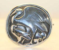 Georg Jensen vintage heron brooch