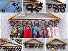 Classic scarf holder - usable for belts also. Scarf Hanger, Diy Scarf, Tie Hanger, Coat Hanger, Scarf Storage, Diy Storage, Life Hacks, Scarf Organization, Organisation Hacks