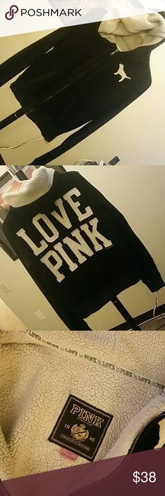 LoVe PiNk by VS Hoodie VS LOVE PINK HOODIE  Good used condition,  no rips tears or stains or odors. Clean with lots more life to live.  Very warm. Same day/next day shipping. Bundle and save. VS LovePink Tops Sweatshirts & Hoodies