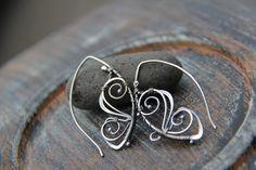 "Sterling silver wire wrap threader earrings ""Fly away"", wire wrap antique silver earrings, butterfly earrings, metal work, nature, filigree"