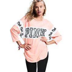 PINK Boyfriend Jersey ($50) ❤ liked on Polyvore featuring tops, nude, three quarter sleeve tops, 3/4 length sleeve tops, 3/4 sleeve tops, cotton 3/4 sleeve tops and boyfriend tank top