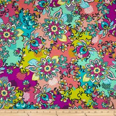 Global Bazaar Floral Purple. Designed by Josephine Kimberling for Blend Fabrics