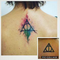 Deathly Hollows Watercolor sketch tattoo by @dn_alves Harry Potter // Relíquias da Morte Daniel R Alves Tattoo Artist