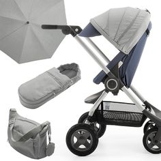 Stokke Scoot in Slate Blue w/ coordinating accessories