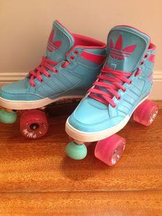 Custom Adidas Roller Skates mounted on Revenge Plates, all terrain Pulse 78A wheels, Bones Bearings, Aqua Powerdyne Moonwalker toestops with grind blocks
