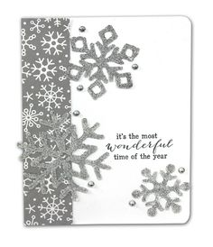 Silver Glitter Snowflakes Card - Click through for project instructions.