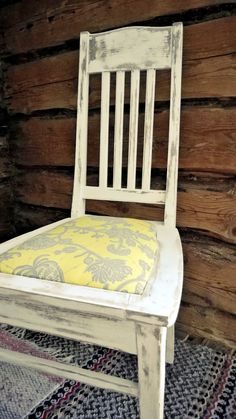 1940's chair with Amy Butler's fabric design. Organic pattern of yellow and silver grey tones.