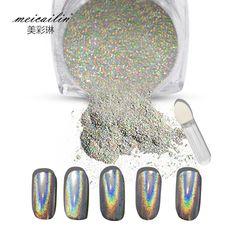 1g/Box Shiny Laser Nail Powder Holographic Nail Glitter Dust Rainbow Chrome Pigment Manicure Pigments Nail Art Decorations * Click the VISIT button for detailed description