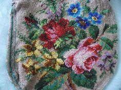 Antique Large Victorian Beaded Floral Handbag Small Issues | eBay