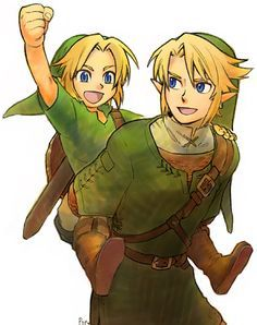 Young Link and adult Link