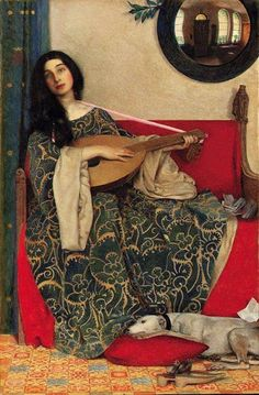 """Mariana in the South (1906). Frank Cadogan Cowper(British, Pre-Raphaelite, 1877-1958). Inscribed 'And """"Ah"""" she sang """"to be all alone/to live forgotten and love forlorn.""""' Exhibited at the Royal Society of Painters in Water Colours, London, Summer 1906. Cowper's subjects were usually literary, historical or religious with close attention to detail and rich color, and with sound research. He was also known for his portrait and watercolor works."""