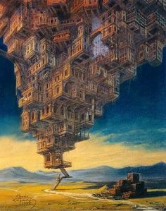 'The Invisible Cities' is a series of surreal and imaginative oil paintings by Polish artist Marcin Kolpanowicz Fantasy Kunst, Fantasy Art, Turm Von Babylon, Arte Steampunk, Invisible Cities, Tower Of Babel, City Painting, Learn Painting, Photo D Art