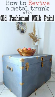 Have you ever tried to revive an old metal trunk? I had great results using Old Fashioned Milk Paint. How to Revive a Metal Trunk with Old Fashioned Milk Paint, theboondocksblog.com
