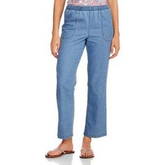 White Stag Women's Comfort Waist Woven Pull-on Pants available in Regular and Petite, Size: Medium, Blue