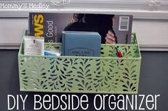 Easy DIY Bedside Organizer | Mommys Medley #bedroom #organization #cheap #decor #DIY