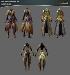 Guild Wars 2 Sylvari Armor Sets by on deviantART Story Inspiration, Character Inspiration, Guild Wars 2, Military Personnel, Body Armor, Video Game Art, 3d Character, Phan, 3d Design