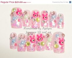 ON SALE Japanese 3D fake nails bunny candy stars and by Aya1gou, $18.90