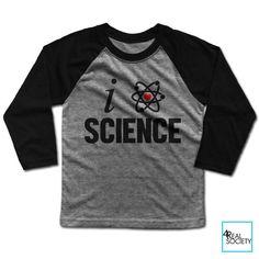 I Love Science - Kid's Baseball Tee