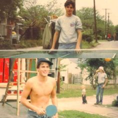 Rob Lowe playing ping pong against Ralph Macchio on the set of The Outsiders.