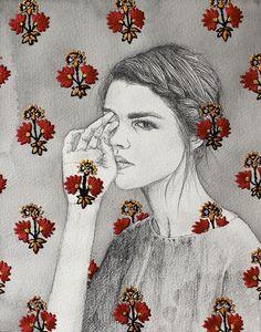 Ilustrações em aquarela e lápis ganham bordados nas mãos da artista Izziyana Suhaimi