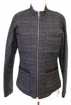 Theory Jacket Dorlan Blazer Coat Wool Boucle Zip Charcoal Womens sz 10 New #Theory #BasicJacket