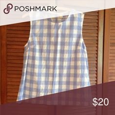 J. Crew Factory Gingham Shell Blue and white gingham. Excellent condition. J. Crew Tops Tank Tops