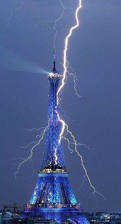 Blue Eiffel Tower. Paris. France