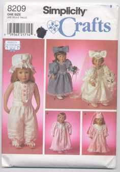 Use this Simplicity 8209, 18 inch doll clothes sewing pattern designed by Shirley Botsford, to create a bridal gown with head bow, bridesmaid gown with head bow, along with the Victorian undergarments, and nightgown with cap and robe.