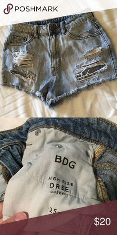 BDG denim shorts. / UO BDG / Urban outfitters high rise cheeky shorts!! The material is a little worn, but still in nice condition! Tag says 25, but will fit a 26-27 as well. BDG Shorts Jean Shorts