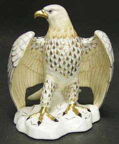 BALD EAGLE-GOLD FISHNET - HerendHerend Figurine at Replacements, Ltd