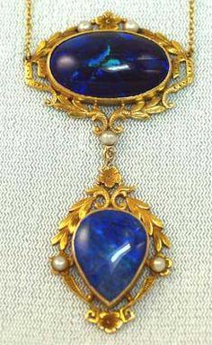 Art Nouveau Gold, Solid Black Opal & Pearl Necklace