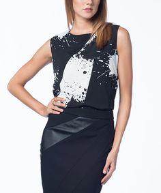 Guita Another great find on #zulily! Black & White Splash Sleeveless Top #zulilyfinds
