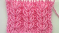 """Knitting pattern, the elongated stitch that forms the """"wheat ear"""" is achieved by knitting in the row below; pattern in total Knitting Stiches, Knitting Videos, Crochet Videos, Lace Knitting, Knitting Projects, Crochet Stitches, Crochet Projects, Knit Crochet, Stitch Patterns"""