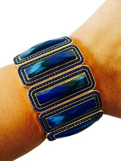 Fitbit Bracelet for Fitbit Flex - CASSANDRA in Blue Stretch Bracelet - FREE SHIPPING  | FUNKtional Wearables Fitbit Jewelry and Fitbit Accessories