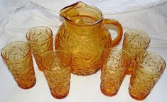 Anchor Hocking Lida Milano Amber Pitcher and 6 Tea Tumbler Glasses-Vintage