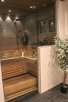 Sauna Ideas, Steam Room, Saunas, Home Spa, Hot Tubs, Bath Time, Master Bath, Basement, Sweet Home