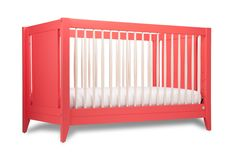 Honest 4-in-1 Convertible Crib with Toddler Rail now available in Coral! | Collaboration with Babyletto #baby #sustainable